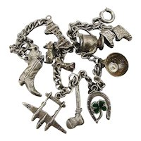1940s WWII Sterling Silver Charm Bracelet USN Bomber Plane Charms