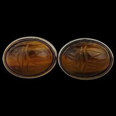Foster Carved Tigereye Scarab Cufflinks