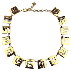 Signed GIVENCHY ~ G ~ Link Necklace - Bold Golden Modernist