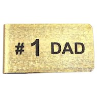 Vintage Money Clip ~ #1 DAD ~ Unused in Box Father's Day c1950s