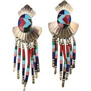 Navajo Sterling Silver Multi Stone Inlay Dangle Earrings Signed TK