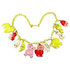 Vintage Plastic Celluloid Googly Eyes Charm Necklace