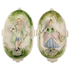 1940s Pair Occupied Japan Bisque Wall Plaques 3 D Victorian Couple