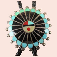 Signed Zuni Chief Head Bolo Inlay Gemstones Sterling Silver - Leather Tie