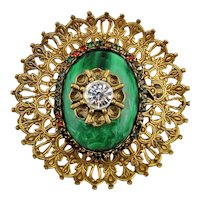 Old Huge 3 Inch Filigree Rhinestone Pin Brooch