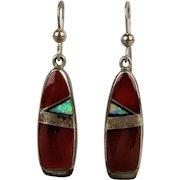 Navajo Kenneth Bitsie Sterling Silver Carnelian Earrings w/ Austrian Opal