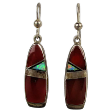 Navajo Kenneth Bitsie Sterling Silver Carnelian Earrings w/ Austrian Opal