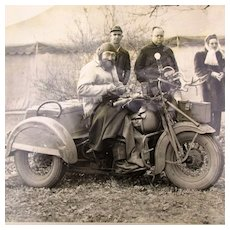 Original 1947 Newswire Photo Motorcycle Biker Dog Tag Man