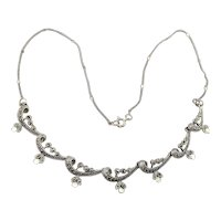 Vintage Sterling Silver Marcasite Garland Festoon Necklace