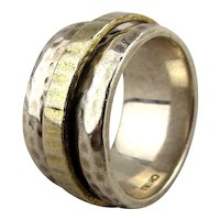 Hammered Silpada Sterling Silver Spinner Ring Wide Band