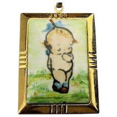 Vintage Hand-Painted KEWPIE Baby on Porcelain Pendant Necklace