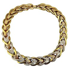 1980s Bold Heavy Gilt Rhinestone Necklace - Stunning