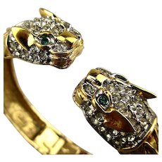 Signed Butler Wild Cat Head Hinge Bracelet Rhinestone Face-Off