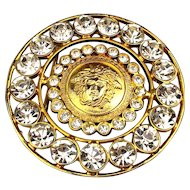Big Bold Gilt MEDUSA Rhinestone Belt Buckle