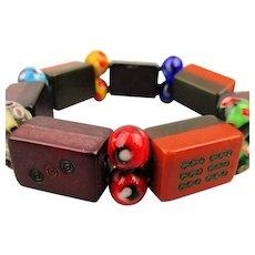 Old Bakelite Mini Mah Jong Tile Stretch Bracelet - 2 Colors
