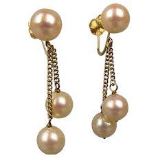 Estate 14K Gold Earrings w/ Dangling Pearls