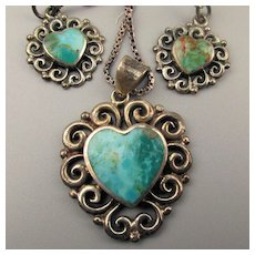 Vintage BOMA Turquoise Sterling Set Necklace Earrings Heart in Box