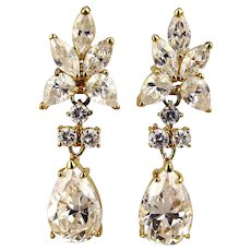 1980s Faux Diamond Crystal Drop Earrings Gilded Sterling Silver