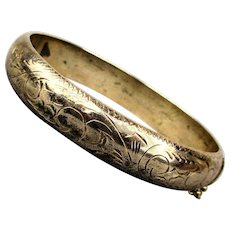 Nice Old Sterling Silver Etched Bangle Bracelet