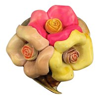 Vintage Celluloid Molded Flower Pin - 3 in a Bunch