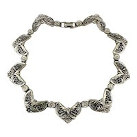 Art Deco Era  Silvertone Necklace Ornate Links