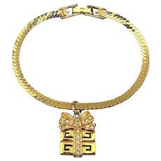 Givenchy Goldtone Rhinestone Charm Bracelet w/ ~G~ Logo Gift Box