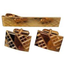 Vintage ANSON Gold-Filled Cufflink Set Etched Tie Clasp - Cufflinks