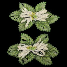 Old Hand Beaded French Glass Flower Table Decorations