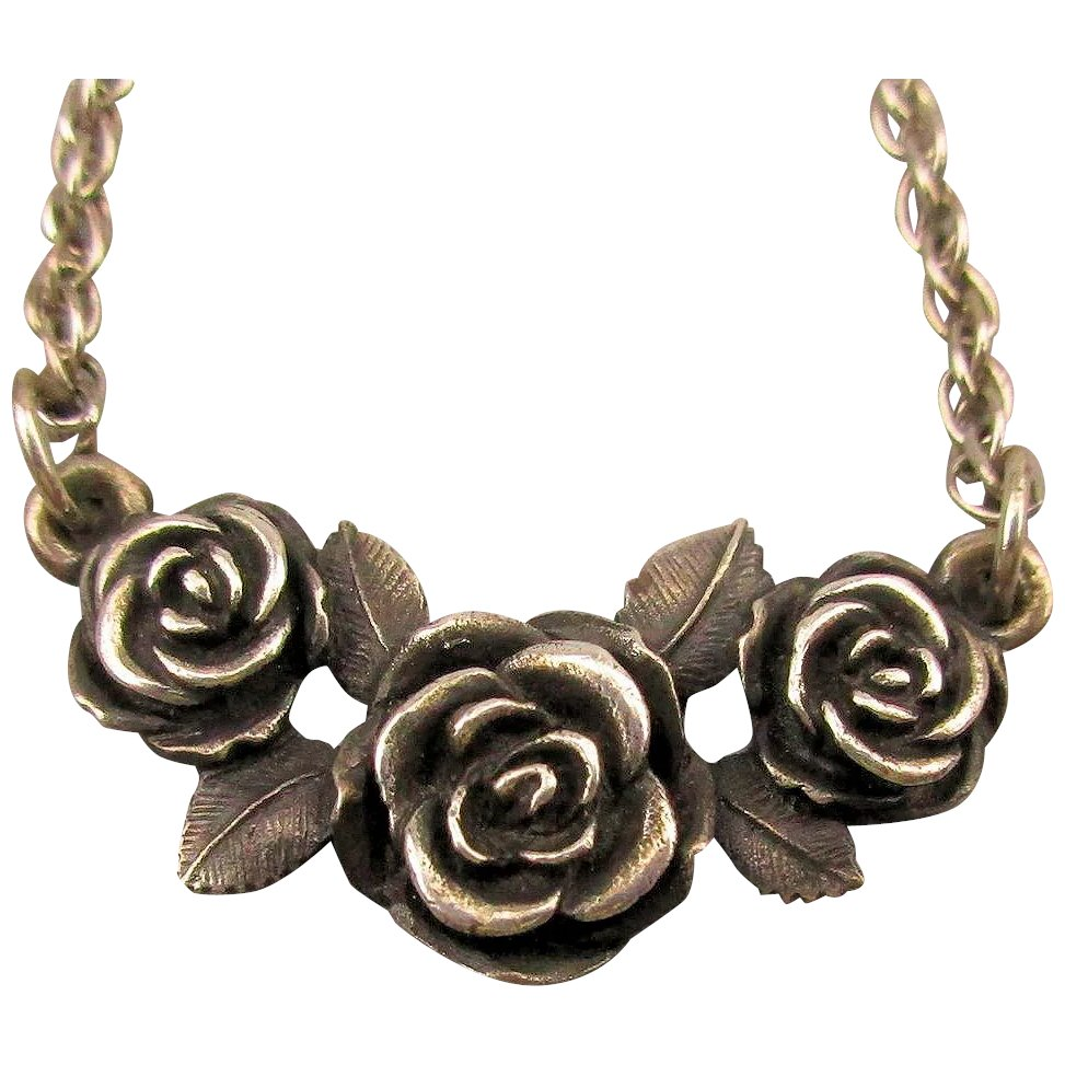 Vintage James Avery Sterling Silver Necklace Roses Greatvintagestuff Ruby Lane