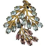 Big 1930s Art Deco Rhinestone Fur Clip Pin Pendant