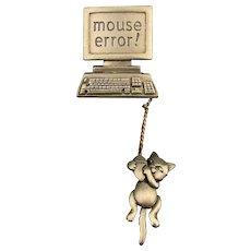 Vintage J.J. Jonette Computer Mouse Error Pin Brooch