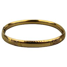 Victorian Slim Etched Gold-Filled Bangle Bracelet Hinged