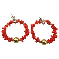 Genuine Red Coral Nugget Hoop Earrings Pierced