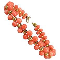 Two Row Angel Skin Coral 14K Gold Bead Bracelet