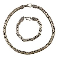 Heavy Bali Sterling Silver Cable Necklace - Bracelet Set