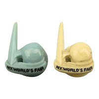 Pair 1939 New York World's Fair Lapel Pins Studs Trylon Perisphere