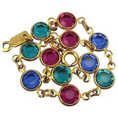 Vintage Swarovski Mini Colored Crystal Link Bracelet