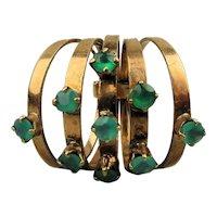 14K Gold Vintage 5 Band Harem Ring w/ Emerald Green Gems