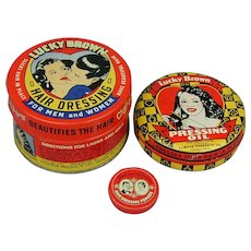 3 Old Valmor Co. LUCKY BROWN Ethnic Hair Product Tins Set