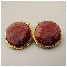 1950s Natty Men's Gold-Filled Carnelian Intaglio Cufflinks