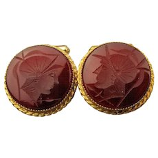 1950s Natty Men's Gold-Filled Carnelian Intaglio Cufflinks