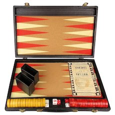 Vintage Red / Yellow Bakelite Backgammon Game in Tweed Case