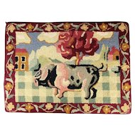 Vintage Folk Art PIG Hand Hooked Rug 26 x 19 Inches