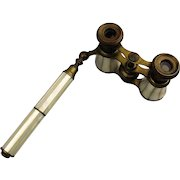 Antique French Opera Glasses Binoculars Mother of Pearl on Brass w/ Handle