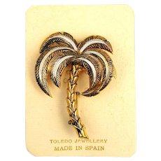 Vintage Damascene Etched Palm Tree Pin on Orig. Card. Spain