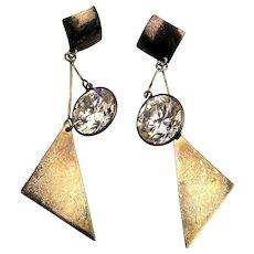 Long Sterling Silver Dangle Earrings w/ Headlight Crystal