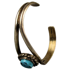 Small Indian Princess Signed Cuff Bracelet Sterling w/ Turquoise