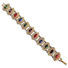 Vintage Fancy Jeweled Rhinestone Goldtone Link Bracelet