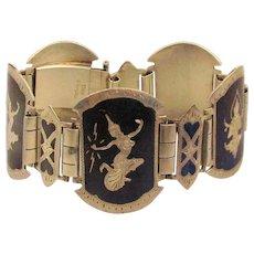 Vintage Ethnic Siam Sterling Silver Panel Bracelet Niello Enamel