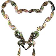 Vintage Mexican Taxco M. Ocampo Sterling Silver Necklace Abalone Inlay c1940s